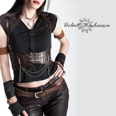 Steampunk Harness BROWN Faux Leather Underbust Bodice with Silver Gears, Buckles, Chain, and Antique Keys by Velvet Mechanism https://www.etsy.com/shop/velvetmechanism