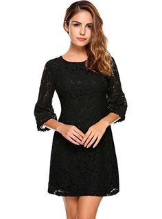 Womens 3/4 Flare Sleeve Floral Lace A-line Cocktail Party Dress (8 Colors & 2 Styles)