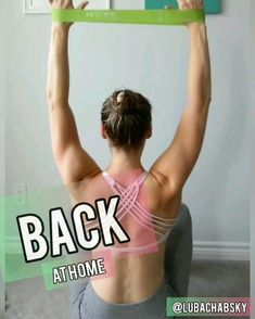 At Home Mini-Band Back Workout! Pull Down variations! Build a strong back with this resistance band workout routine. Back Workout At Home, Back Workout Women, At Home Workouts For Women, Back Fat Workout, Home Workout Videos, Shoulder Workout At Home, Beginner Workout At Home, Resistance Workout, Resistance Band Exercises