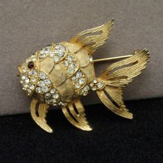 Rhinestone Goldfish Fish Brooch Pin Vintage by Schrager