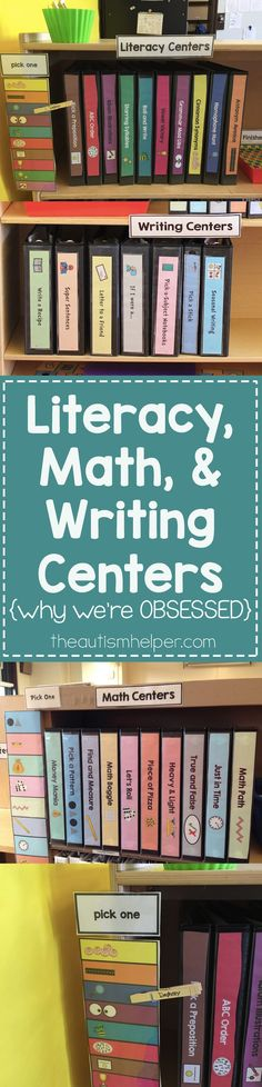 My 3 sets of centers - Writing, Math, & Literacy - help make independent work meaningful & create opportunities to practice academics your students have worked so hard on. From http://theautismhelper.com #theautismhelper