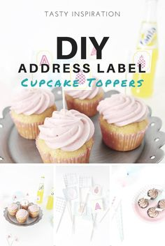 DIY Address Label Cupcake Toppers: Put a spin on your cupcakes or cake by turning a few customized address labels into toppers for your sweet confections. @ajoyfulriot