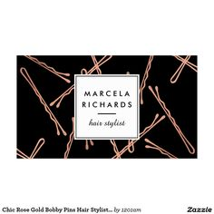 Chic Rose Gold Bobby Pins Hair Stylist Black Business Card