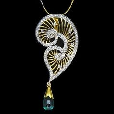 14k Pure Gold Natural Top Hydro Emerald Diamond Ladies Pendant With Chain Best