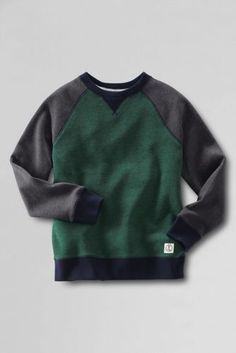 Boys' Long Sleeve Colorblock Crewneck Sweatshirt from Lands' End