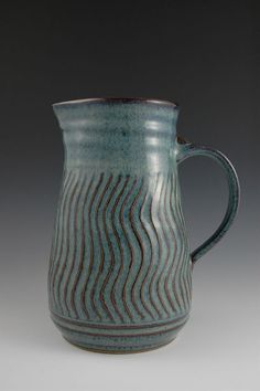Hand Carved Faceted Blue Stoneware Pitcher