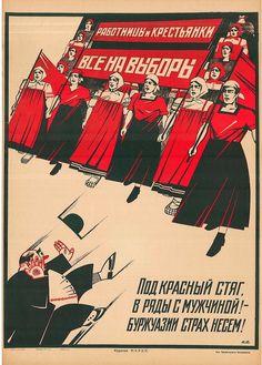 """""""Tutti alle urne. Donne operaie"""", manifesto sovietico, collezione privata. (© Giunti Editore – Maria Adriana Giusti, Arte di Regime, 2014)"""