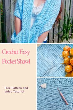 Crochet Shawls And Wraps, Crochet Poncho, Crochet Scarves, Crochet Clothes, Easy Crochet, Free Crochet, Beginner Crochet Projects, Crochet Videos, Crochet Fashion