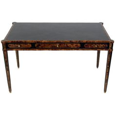 Tables Delicious New Maitland-smith Regency Style Carved Mahogany Leather Top Side Accent Table Exquisite Traditional Embroidery Art