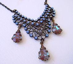Saphiret Glass Filigree Necklace  Vintage by Katofmanycolors, $90.00