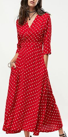 V-Neck Polka Dot Pleated Dress =