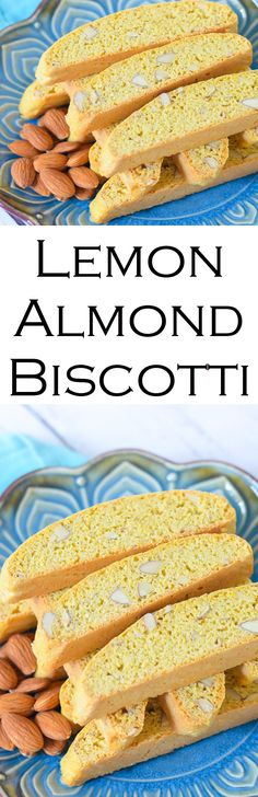 Lemon Almond BIscotti - an easy Italian cookie recipe that's low in fat. made with eggs and no butter, these lemon almond biscotti are perfect with coffee and tea. Keep them in the freezer and pull one or two out as you need them! (Italienisches Low Carb Brot)