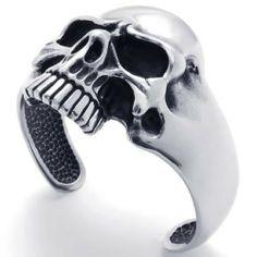 "KONOV Jewelry Vintage Stainless Steel Skull Biker Tribal Mens Bangle Cuff Bracelet - Color Black Silver KONOV Jewelry. $29.99. Material: Stainless Steel. stainless steel is durable and scratch resistant. Color: Black & Silver. Width: 69mm(2.72"") Height: 2.17""(5.5cm)"