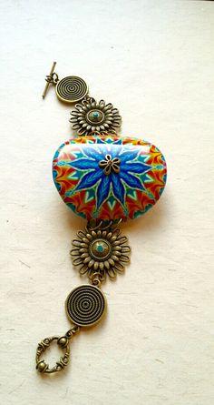 kaleidoscope bracelet , polymer clay