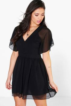 Alison Chiffon Angel Sleeve Skater Dress