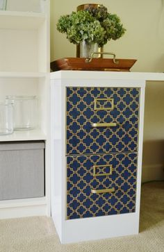 wallpapering a file cabinet - Informative article listing supplies and a step by step process.