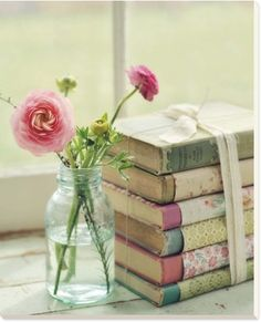 Display Idea: Partially wrap books in decorative papers / Print by Mandy Lynne