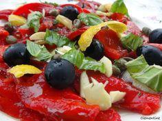 Le blog de Clementine: Salade aux poivrons grillés, câpres et olives