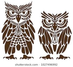 Laser cut template. Stencil. Silhouette of two golden owls. Wild animal character in different sizes. Vector illustration isolated on white background. Suitable for laser or die cutting.