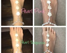 Beaded ankle/toe jewelry for the diva inside every girly beach bum. Add some sparkle to your sun bed and do some feet flirtin!  Where these by themselves by day and dress up your flat or pump by night. Made on stretch cord for ease and comfort. Please specify your shoe size in notes. For a more perfect fit, include circumphrance of ankle just above the ankle bone and distance between standing ankle and second toe.