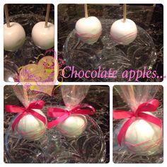 Chocolate apples #chocolateapples #candybyluci #pink #chocolate #americolor #merckens #apples #partyfavors #ilovecandybyluci #@candybyluci #candyapples  Www.ilovecandybyluci.blogspot.com