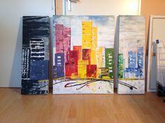 Drieluik dark, bright and misty, acryl 90 x 30, 90 x 70, 90 x 30, 2013