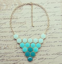 Mint and Teal Kate Spade Inspired Statement Necklace- Bib Necklace - Geometric Necklace. $25.00, via Etsy.
