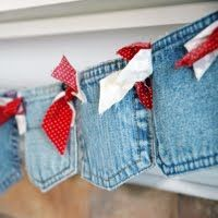 Denim Pocket Banner - cute, fun for a party, if kept whole pockets can be used for tucking items inside too  **********************************************  (repin) #denim #pocket #banner