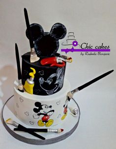 Mickey Mouse Cake by Radmila, Mickey Mouse Torte, Mickey And Minnie Cake, Bolo Mickey, Mickey Cakes, Fondant Cakes, Cupcake Cakes, Cupcakes Kids, Cup Cakes, Pastel Mickey
