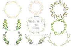 Watercolor Premium Wreaths and branches by LABFcreations on Creative Market  olive wreath,laurel wreath