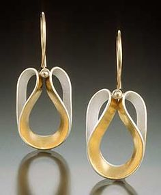 Angeline+Earrings by Thea+Izzi: Silver+&+Gold+Earrings available at www.artfulhome.com