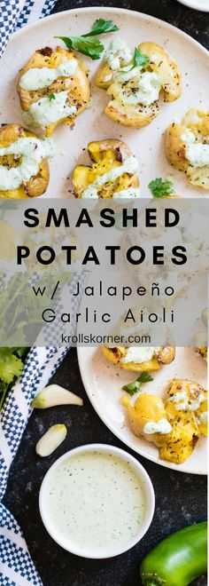 Smashed Potatoes with Jalapeño Garlic Aioli! The next potato side dish you make needs to be this one! Side Dishes For Bbq, Healthy Side Dishes, Healthy Sides, Side Dish Recipes, Easy Dinner Recipes, Easy Meals, Easy Recipes, Dishes Recipes, Brunch Recipes