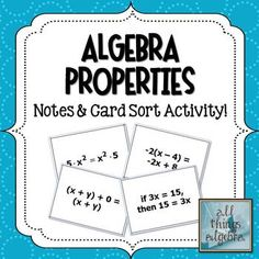 Algebra Properies - Notes and Card Sort Activity! Algebra 1 Textbook, Algebra Lessons, Algebra Activities, Sorting Activities, Teaching Math, Teaching Resources, Teaching Ideas, Fun Math, Math Math