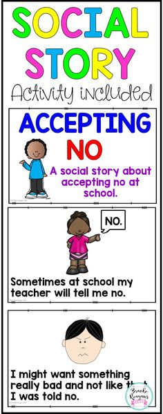 Social Stories: Accepting No Social StoryAccepting NoSocial story teaching how t… Social Stories: Accepting No Social StoryAccepting NoSocial story teaching how to accept no at school.Half and full page social story included.Colored and black. Social Skills Activities, Teaching Social Skills, Counseling Activities, Autism Activities, Social Emotional Learning, Therapy Activities, Articulation Activities, Play Therapy, Speech Therapy