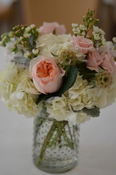 blush pink flowers in mason jar, hobnail jar by Flour and Flower Designs