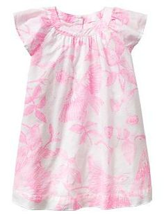 Printed flutter-sleeve dress, Snow Cap $39.95