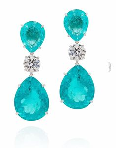 Orlov Jewelry Natural Paraiba and Diamond earrings, 64 Cts set with a pair of round diamonds of 4 Cts E High Jewelry, Modern Jewelry, Gold Jewelry, Diamond Jewelry, Diamond Earrings, Stud Earrings, Jewellery, White Gold Diamonds, Round Diamonds