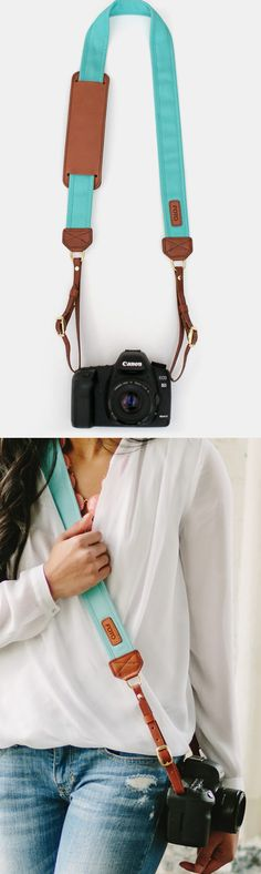 Teal camera strap--add a section inside the strap to slip cash/id/phone