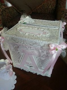 Shabby Chic Money Card Box / Baby Shower Card By TheCarriageShoppe
