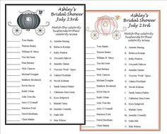 Personalized carriage Bridal Shower Celebrity Couples Trivia Matching Game Cards -set of 10 Outdoor Wedding Decorations, Bridal Shower Decorations, Diy Wedding Gifts, Diy Gifts, Bridal Shower Party, Bridal Showers, Printable Bridal Shower Games, Wedding Games, Bridal Games