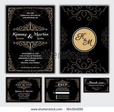 Elegant Wedding Invitation Design Template. Include RSVP card, Save the date card, thank you tags. Classic Premium Vintage Style Frame Vector illustration.