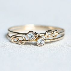 Choose Two Stones SOLID 14k White or Yellow Gold by MARYJOHN