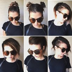 Absolutely obsessed with this woman's hair. - Absolutely obsessed with this woman's hair. I think I'll be doing to same to mine pretty soon. Short Hair Undercut, Short Hair Cuts, Short Hair Styles, Bob With Undercut, Undercut Hairstyles Women, Haircuts, Corte Y Color, Hair Color And Cut, Grunge Hair