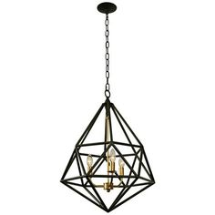 "Facet 18"" Wide Forged Iron with Gold Leaf 3-Light Pendant"