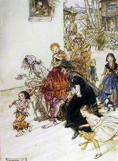 Arthur Rackham – Hark! Hark! The Dogs do Bark. Mother Goose 1913.