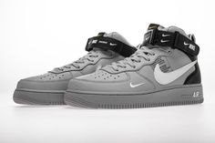 Nike Air Force 1 Mid LV8 GS 'Overbranding' Cool Glray AV3803 001 - Hookicks Air Force 1 Mid, Nike Air Force, Yeezy 350 V2 Black, New Nike Air, Jordan 4, Air Jordans, Sneakers Nike, Shoes, Closet