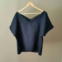 Chemise en lin bleu marine, chemisier en lin, tops lin indigo, chemise kimono…