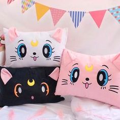Kawaii Sailormoon Luna Pillowcover ●Material :Flannel ●Details:just one pillow case ●About Shipping: We attach great importance to the orders of each customer and parcel delivery. time: business days to US Cute Pillows, Diy Pillows, Throw Pillows, Kawaii Bedroom, Pillow Crafts, Kawaii Accessories, Cute Plush, Plush Animals, Sewing For Kids