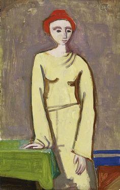Karl Hofer - Stehende Frau mit roter Kappe (1952)
