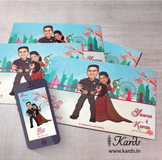 """A quirky caricature invitation """"where the groom is sentenced for life. funny isn't it? Double tap to show some love :) Indian Wedding Invitations, E Cards, Caricatures, Double Tap, Groom, Weddings, Creative, Funny, Prints"""